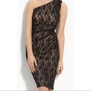 Maggy London One Shoulder Black Lace Dress